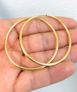 """New Gold Endless Hoops Earrings For Women In 14K Solid Yellow Gold Filled 2x2""""."""