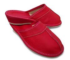 Damen Hausschuhe Pantoletten Pantoffeln Echtleder rot