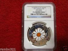 2011 Cook Island Is Daisy In Cloisonne .999 Silver & Gold Coin NGC PF 69