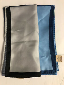 Unisex Lot Of 2 Silk Pocket Square Blue/black Handkerchief 17x16 New Hand Rolled