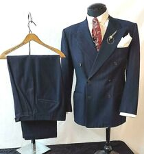 1940's Roos Bros Dark Blue Shadow Stripe 2Pc 3x2 Db Suit Swing Dapper Dandy