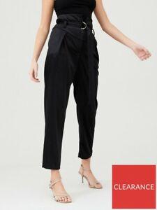 BNWT River Island Black D-Ring Velvet Trousers Size 10R EUR 36R
