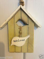 Hanging Decorative Wooden Bird House Welcome Sign Shabby Chic Rustic Birdhouse Duck Egg Blue