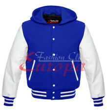 Royal blue Varsity  Letterman Wool Hoodie with White Real Leather Sleeves XS-4XL