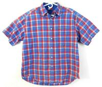 Mens Tommy Hilfiger Red/Blue Checked Short Sleeve Button Down Shirt Size Large