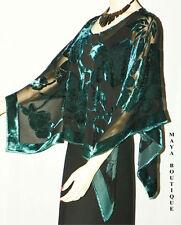 Silk Burnout Velvet Poncho Kimono Top Turquoise & Black No Fringe Maya Matazaro