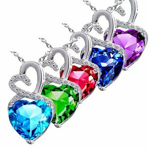 """4.00 Cttw Sterling Silver Heart Cut Gemstone Pendant Necklace w/ 18"""" Chain"""