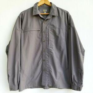 Mountain Hardwear Mens L Canyon Shirt Gray Button Up Vented Long Sleeve Hiking