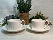 """Wedgwood COLOSSEUM 3-1/4"""" White Coffee Cup/5-5/8"""" Saucer, Sets of 2, MINT Cond!"""