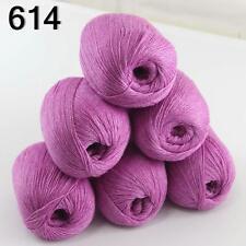 6ballsX50g luxurious Pure 100% Soft Cashmere Hand Knitting Yarn 614 Violet
