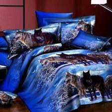 4Pcs 3D Wolf Printed Duvet / Quilt Cover Pillow Case Bedding Set Queen Size New