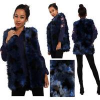 Womens Ladies Girls Navy Blue Patchwork Faux Fur Gilet Winter Outerwear Gilet