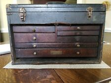Antique 7 Drawer PILLIOD #55 Leatherette MAHOGANY DRWR FRONT Machinist CHEST