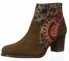 New Women's Desigual Designer ankle boots - Selva Brown printed suede