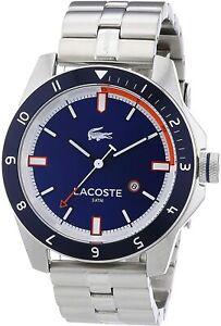GENUINE Lacoste Durban Men's 44mm Silver Stainless Steel Analogue Bracelet Watch