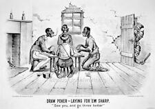 "Darktown Comic 1880s ""Draw Poker-Laying for' em sharp"""