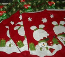 Lot of 6 Christmas Stockings Holders Snowman Jingle Bells Holiday New Red