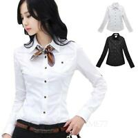 Womens shirt long sleeve Vintage Cotton Collar Blouse Casual office Top Size