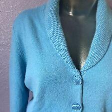 NEIMAN MARCUS $200 Sky Blue Cashmere Cardigan Sweater w Pockets M BEAUTIFUL