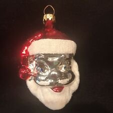 Vintage SANTA HEAD Glass Christmas Ornament Hand Painted West Germany