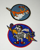 2 US Army Air Force Cat on Cloud 487th Squadron Bomb Fighter Patch New NOS 60s?