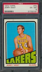 1972 Topps Basketball #75 Jerry West Los Angeles Lakers HOF PSA 6 EX-MT