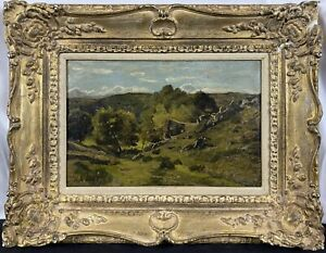 Original 19th C. Henri-Joseph Harpignies Barbizon Landscape SIGNED Oil Canvas