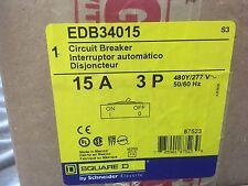 New IN BOX  Square D EDB34015 Circuit Breaker 3 Pole 15A 277/480V 18kA Bolt-On