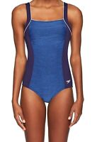 Speedo Womens Swimwear Blue 14 Spacedye Square Neck Endurance Swimsuit $88 963