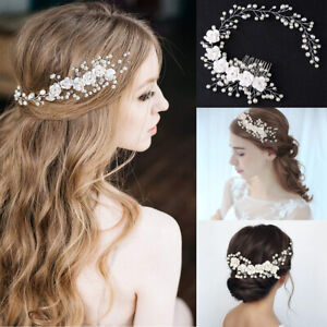 Wedding Bridal Accessories Hair Pins Bridesmaid Flowers Pearls Clips Comb Tiara