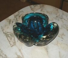 Vintage Signed Chalet Art Glass Teal & Clear Console Bowl Cigar Ashtray
