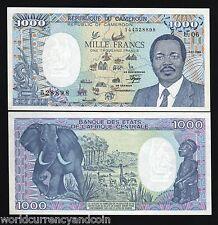 CAMEROUN CAMEROON 1000 FRANCS P26A 1989 ELEPHANT BOAT GIRAFFE MAP UNC