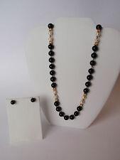 "Vintage 14K Yellow Gold Cultured Pearl Black Onyx 32"" Bead Strand Stud Earrings"