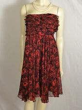 The Limited Strapless black and red ruffled top lined dress size 2