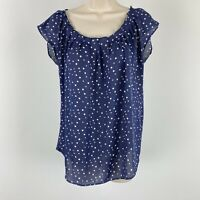 Lauren Conrad size small women's blue polkadot Short sleeve Blue sheer shirt