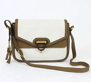 $1750 NEW Authentic Gucci Derby Canvas Messenger Bag w/Leather Trim 309586 9583