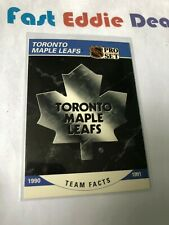PRO SET NHL HOCKEY 1990 TORONTO MAPLE LEAFS TEAM FACTS CARD 583 EXCELLENT