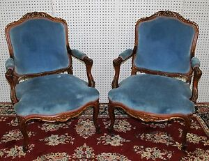 Antique Country French Pair Fauteuil Armchairs Carved Walnut LXV Gold Accents