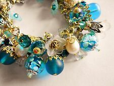 Pearl Lampwork Charms Bracelet Turquoise White Crystal Mixed Metal Haskell Chain