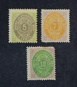 CKStamps: US Stamps Collection Danish West Indies Scott#8b 9 11 Mint H OG