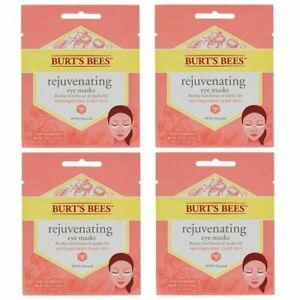 4x Burt's Bees Rejuvenating Eye Masks - For tired eyes/Dark circles - 4 PACK!