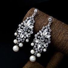 E830 Forever 21  Bridal Wedding Pearl Rhinestone Clear Gem Drop Earrings UK