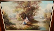 G.CLOSSON WOMAN AND SWANS OIL ON CANVAS LANDSCAPE PAINTING