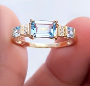 Natural Blue Aquamarine Diamond Solid Yellow 9K Gold Ring Engagement Wedding