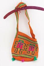 "Knitted Shoulder Bag  Purse Knit Peru Souvenir orangee w/Figures (C2R) 13"" x 11"""