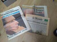 Important lot journaux revues magazines janvier 1996 décès François Mitterrand