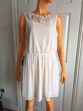 Topshop Cream Floral Studded Neck Sleeveless Short Dress RRP£42 UK10 EU38 NWT