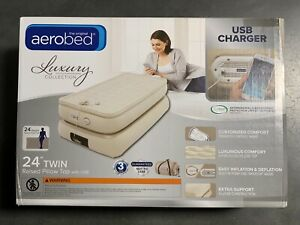 """AeroBed Luxury Raised Pillowtop 24"""" Twin Air Mattress with USB Charging Output"""