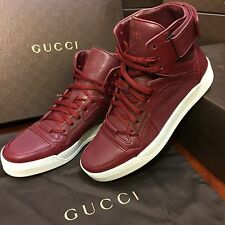 NEW Gucci Red Leather High Top Lace Up Sneakers Men's Size G11 (US 12)