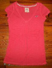 Women's Juniors HOLLISTER Bright Orange Cotton Short Sleeve V-Neck Shirt Medium